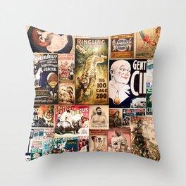 Circus Collage Throw Pillow