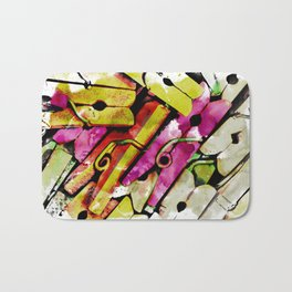 Vintage Clothes Pins with HDR Effect Applied Creating an Abstract Bath Mat