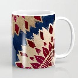 Bohemian Gold Navy Burgundy Hand Drawn Mandala Coffee Mug