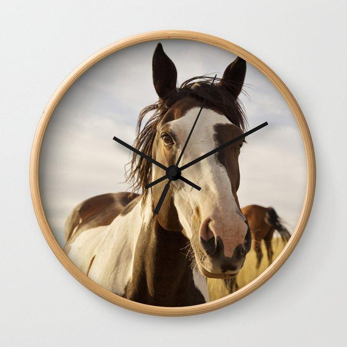 Western Paint Horse Wall Clock