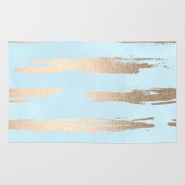 Abstract Paint Stripes Gold Tropical Ocean Sea Turquoise Rug
