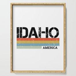 Retro Vintage Stripes Idaho Gift & Souvenir Product Serving Tray