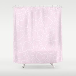 Palest Pink and White Hand Drawn Hearts Pattern Shower Curtain