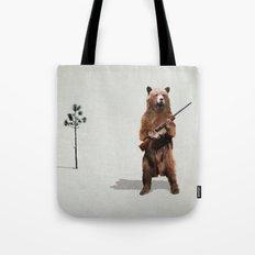 Bear with a shotgun Tote Bag