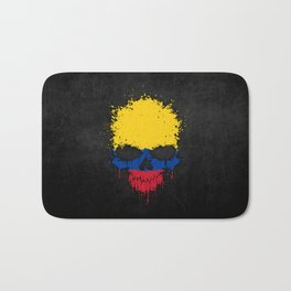 Flag of Colombia on a Chaotic Splatter Skull Bath Mat