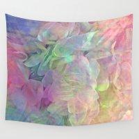 shiva Wall Tapestries featuring Sweet Pastel Garden Hydrangea Abstract by Judy Palkimas