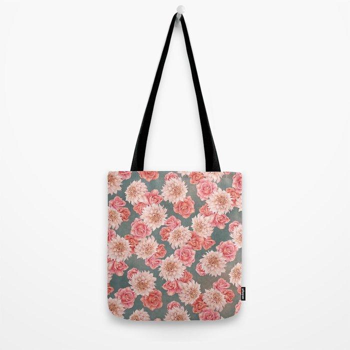Roses&Dahlias pattern Tote Bag