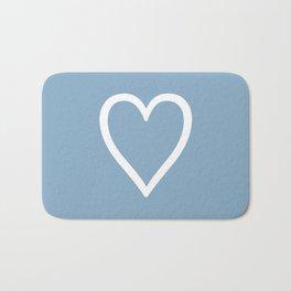 Heart sign on placid blue background Bath Mat