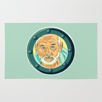 bill murray Area & Throw Rugs featuring Bill Murray Porthole - Steve Zissou by AdrienneD