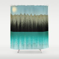 cabin Shower Curtains featuring Cabin View by Tammy Kushnir