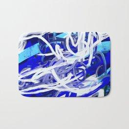 Blue & White Abstract Bath Mat