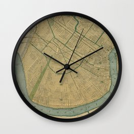 Vintage Map of New Orleans Louisiana (1893) Wall Clock