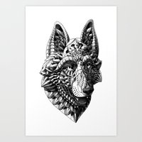 german shepherd Art Prints featuring German Shepherd by BIOWORKZ