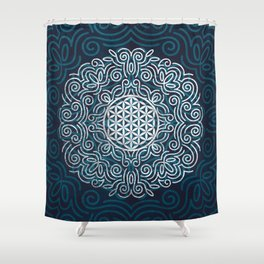 Flower Of Life (Silver Lining) Shower Curtain