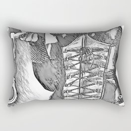 Come, it won't hurt, much... - black and white erotic, sexy bedroom games, mistress in latex Rectangular Pillow