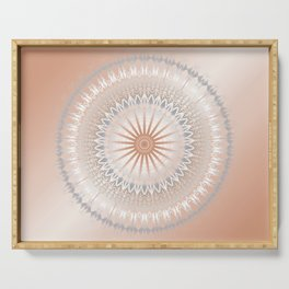 Rose Gold Gray White Mandala Serving Tray