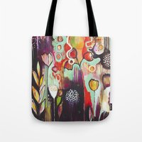 "flora bowley Tote Bags featuring ""Release Become"" Original Painting by Flora Bowley by Flora Bowley"