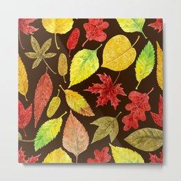 Autumn leaves watercolor dark Metal Print