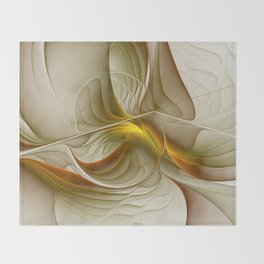 Abstract With Colors Of Precious Metals, Fractal Art Throw Blanket
