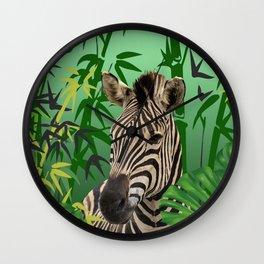 Zebra jungle bamboo background Wall Clock