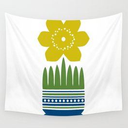 Nordic Yellow Flower Wall Tapestry
