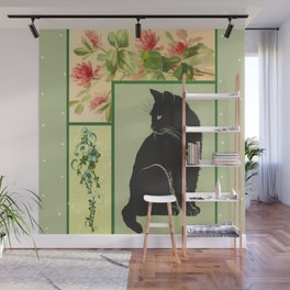 Patchwork Flowers and Cat Wall Mural