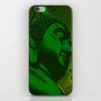 buddah iPhone & iPod Skins featuring Buddah Head 02; Green  by Kether Carolus