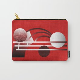 Mid Century Modern Abstract // Red, Black and White // Watercolor Texture Carry-All Pouch