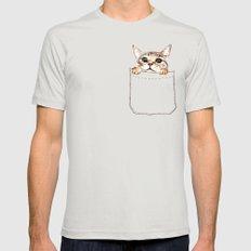 Pocket cat Silver MEDIUM Mens Fitted Tee
