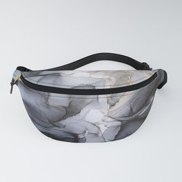 Calm but Dramatic Light Monochromatic Black & Grey Abstract Fanny Pack