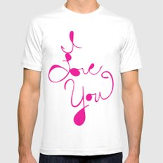 I Love You MEDIUM White Mens Fitted Tee