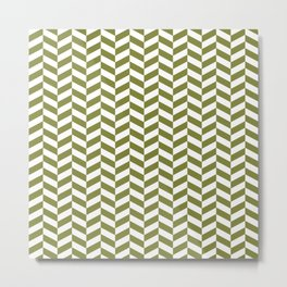Olive Green Herringbone Pattern Metal Print