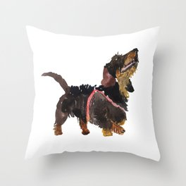 watercolor dog vol 9 dachshund Throw Pillow