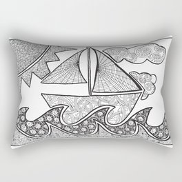 Doodle Boat Coloring Page and Color-in  Rectangular Pillow