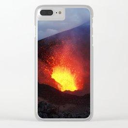 Scenery night eruption volcano on Kamchatka Peninsula Clear iPhone Case