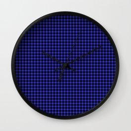 Mini Cornflower Blue and Black Rustic Cowboy Cabin Buffalo Check Wall Clock