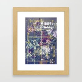 Stylish Vintage Happy Holidays Framed Art Print