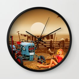 Pin Up Girl with tractor on the farm Wall Clock
