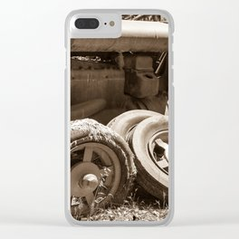 Vintage rusty abandoned farm tractor in poor condition Clear iPhone Case