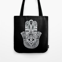 hamsa Tote Bags featuring Hamsa by Louise