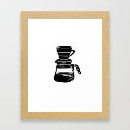Hario V60 coffee maker third wave coffee foodie linocut black and white art Framed Art Print