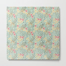 Pink and Yellow Flowers on Light Green Background Metal Print