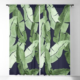 Tropical Leaves 2 Blue Blackout Curtain
