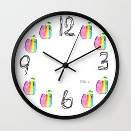 Let Us Bring More Colors Into Our Lives fruit illustration apple rainbow inspirational typography Wall Clock