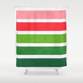 Red & Green Geometric Pattern Shower Curtain