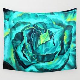 Turquoise Rose, green roses, flower art, dia de los muertos Wall Tapestry