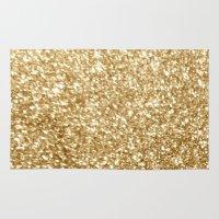gold glitter Area & Throw Rugs featuring Gold glitter by Masanori Kai