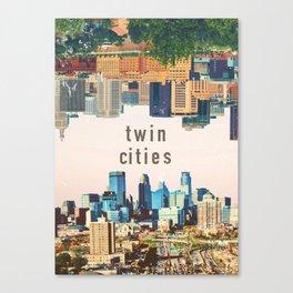 Twin Cities | Minneapolis and Saint Paul Minnesota Skylines | City Collage Canvas Print