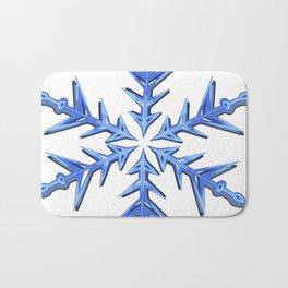 Minimalistic Ice Blue Snowflake Bath Mat