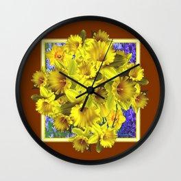 Decorative Golden Yellow Daffodils Coffee Brown Art Wall Clock
